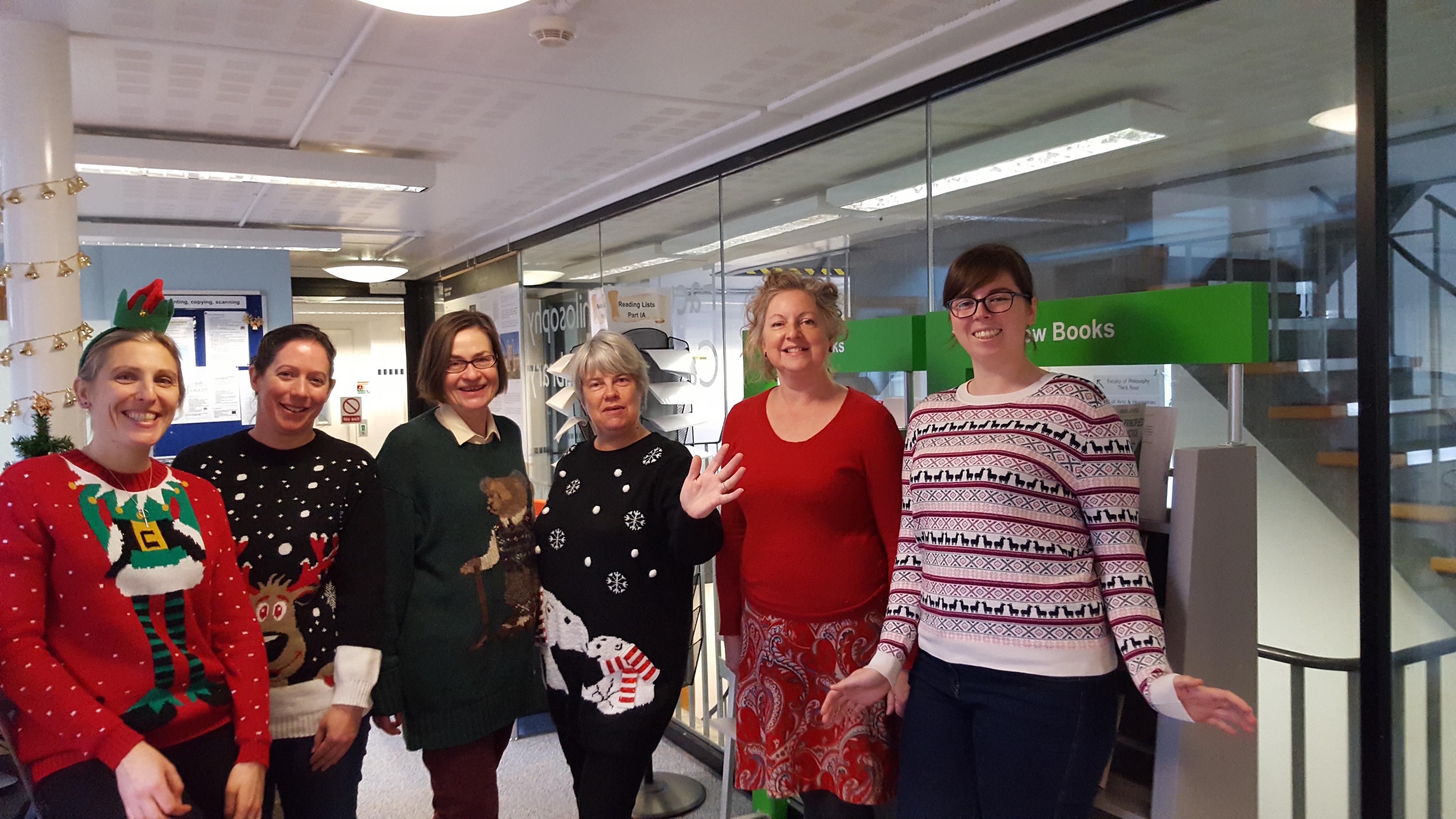 Staff wearing warm jumpers