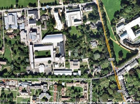 Google earth image of Sidgwick site