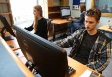 Students in library pc area