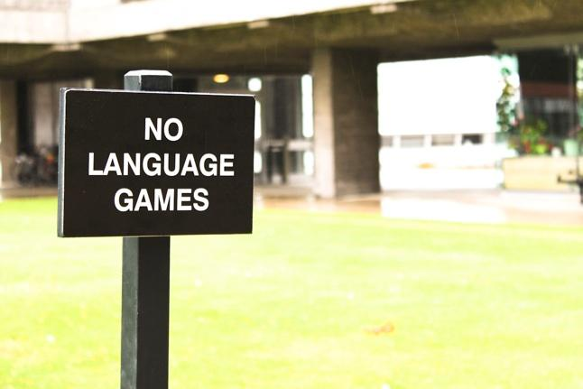 No Language Games Sign